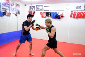 Yoshinori Horie trains during an open workout at FIGHT TEAM ALLIANCE in Tokyo, Japan.