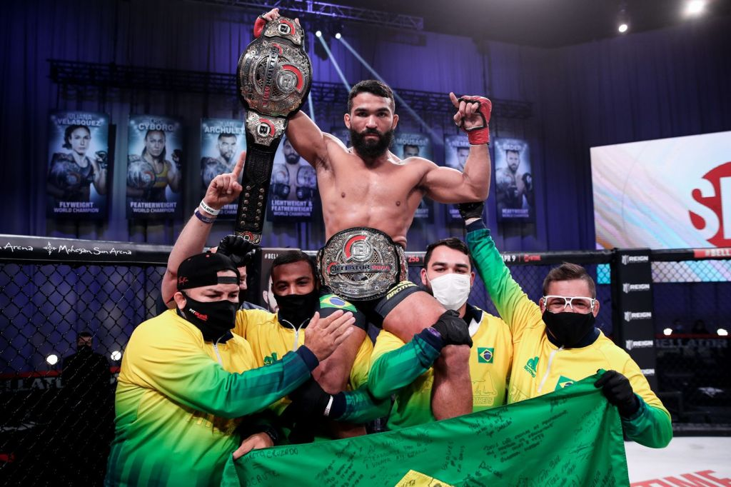 Patricio Pitbull gets hoisted on the shoulders of his team following his win.