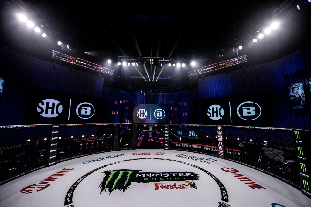 A photo of the Bellator cage inside the Mohegan Sun Arena