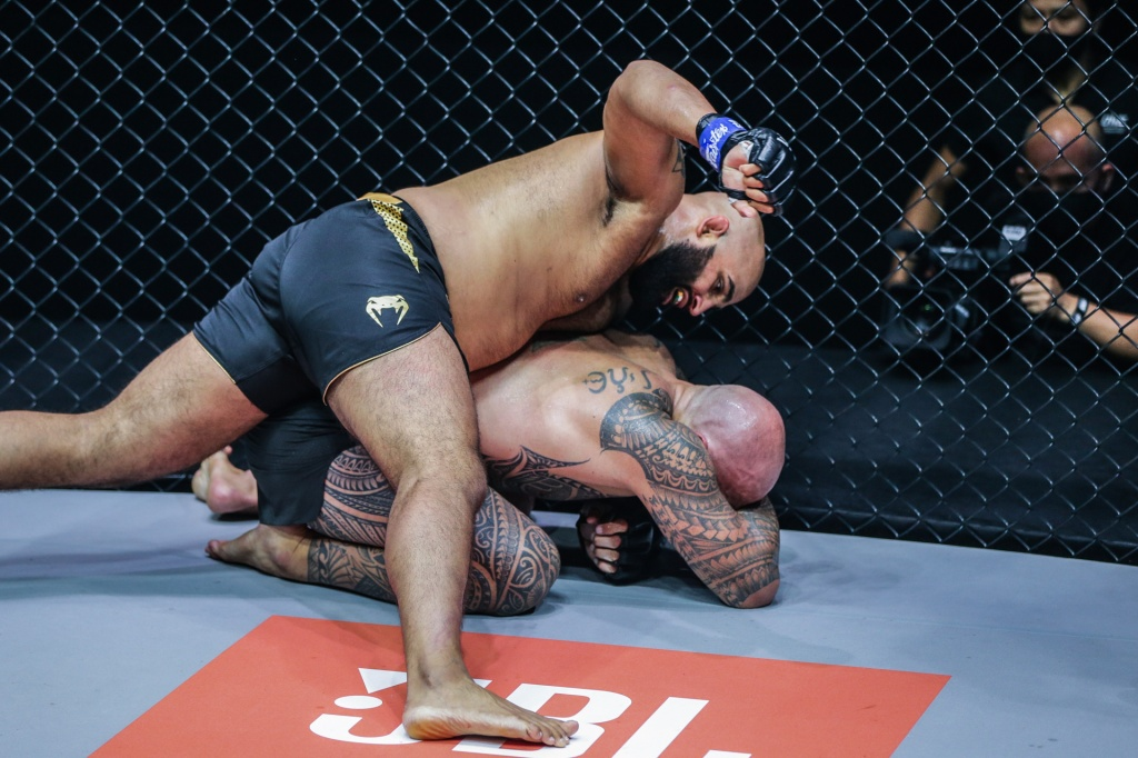Arjan Bhullar lands a punch to the head of Brandon Vera while on his back on the ground.