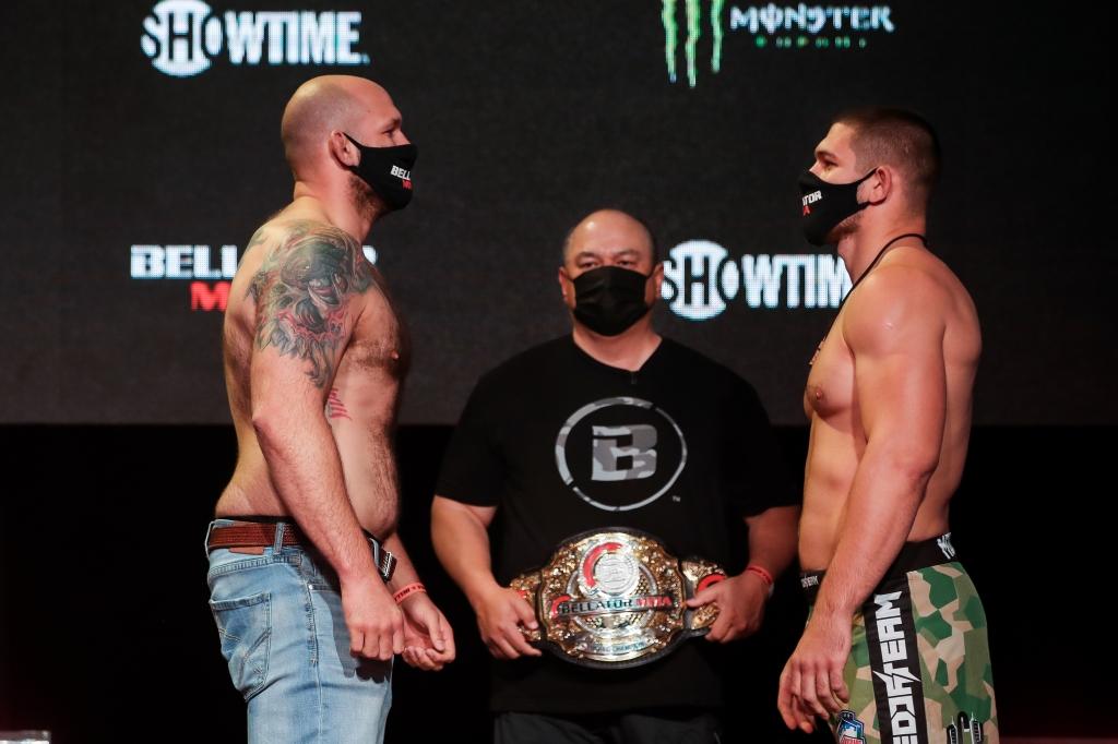 Timothy Johnson and Valentin Moldavsky face off with Scott Coker holding a Bellator Championship between them.