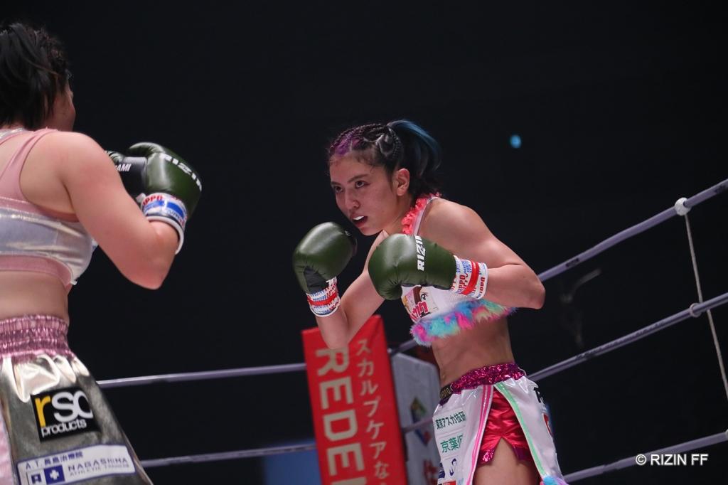 Panchan Rina during a kickboxing fight.